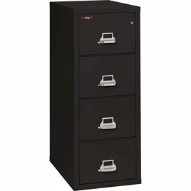 "Fireking Fireproof 4 Drawer Vertical File Cabinet - Legal Size 21""W x 31-1/2""D x 53""H - Black"