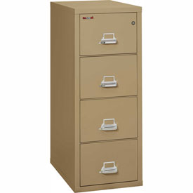 "Fireking Fireproof 4 Drawer Vertical File Cabinet - Legal Size 21""W x 31-1/2""D x 53""H - Sand"