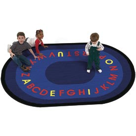 Children Educational Rugs LETTERS THAT TEACH 11X8 Oval