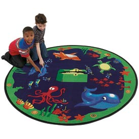 Children Educational Rugs SEA HUNT 6FT Round