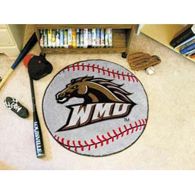 "Western Michigan Baseball Rug 29"" Dia."
