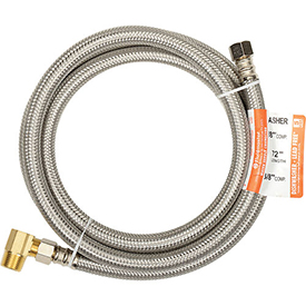 Fluidmaster B6W72 Dishwasher Water Supply Connector 3/8 In. Compression X 72 In Braided SS by