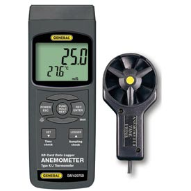 General Tools DAF4207SD Anemometer-Thermometer w /  Data Logging SD Card / DAF4207SD