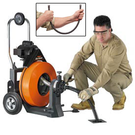 """General Wire P-MX-A Maxi-Rooter Drain Sewer Cleaning Machine W/ 100' x 3/4"""" Cable & 8 Pc. Cutter Set"""