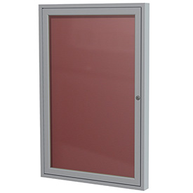 "Ghent 1 Door Enclosed Flannel Letter Board w/Silver Frame, 18""W x 24""H, Burgundy by"
