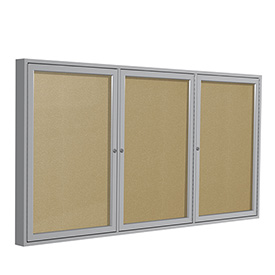 "Ghent® 3 Door Enclosed Indoor/Outdoor Vinyl Bulletin Board - 48"" x 96"" - Caramel"