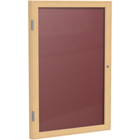 "Ghent 1 Door Enclosed Flannel Letter Board w/Oak Frame, 30""W x 36""H, Burgundy by"