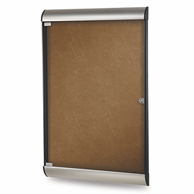 "Ghent® Silhouette Upscale Wall-Mounted Enclosed Bulletin Board, Camel, 27-3/4""W x 42-1/8""H"