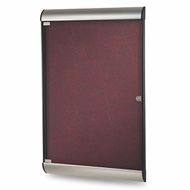 "Ghent® Silhouette Upscale Wall-Mounted Enclosed Bulletin Board, Cabernet, 27-3/4""W x 42-1/8""H"