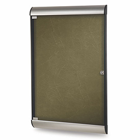 "Ghent® Silhouette Upscale Wall-Mounted Enclosed Bulletin Board, Forest, 27-3/4""W x 42-1/8""H"