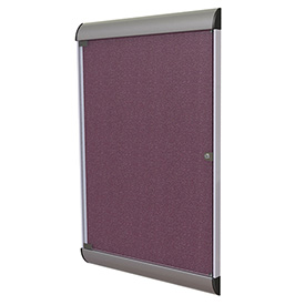 "Ghent® Silhouette Upscale Wall-Mounted Enclosed Bulletin Board, Berry, 27-3/4""W x 42-1/8""H"