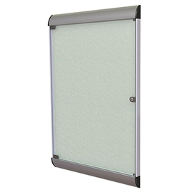 "Ghent® Silhouette Upscale Wall-Mounted Enclosed Bulletin Board, Silver, 27-3/4""W x 42-1/8""H"