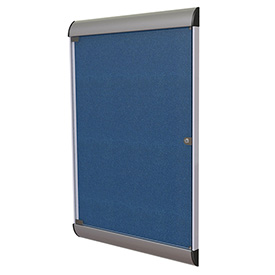 "Ghent® Silhouette Upscale Wall-Mounted Enclosed Bulletin Board, Navy, 27-3/4""W x 42-1/8""H"