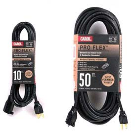 Carol 06610.63.01 10' Pro Flex ® Rubber Extension Cord, 16awg 13a/125v - Black