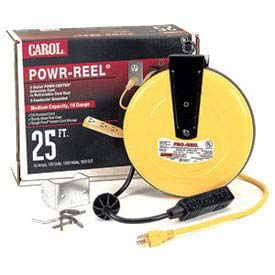 Carol 44623.61.05 25' Power-Reel 3 Outlets, 16awg 10a/125v - Yellow - Pkg Qty 4 - Pkg Qty 4