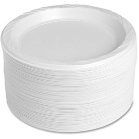 "Genuine Joe Plastic Plates, 9"" Diameter, Reusable/Disposable, 125/Pack, White by"