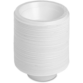 Genuine Joe Plastic Bowls, 12 Oz., Reusable/Disposable, 125/Pack, White by