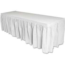 "Genuine Joe Table Skirt, 14'L x 29""H, Pleated, Linen/Polyester, White by"