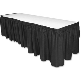 "Genuine Joe GJO11916 Table Skirt, 14'L x 29""H, Pleated, Linen/Polyester, Black by"