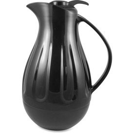 Genuine Joe Double Wall Glass Lined Carafe, Double Wall Swirl, 1.3L, Black by