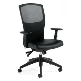 Global™ Mesh Back Tilter Office Chair - Leather - High Back - Black - Alero Series
