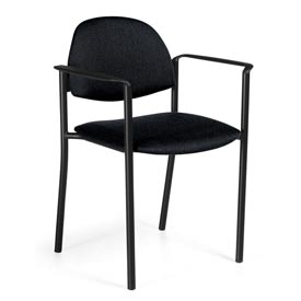 Global™ Stacking Chair with Arms - Fabric - Black - Comet Series