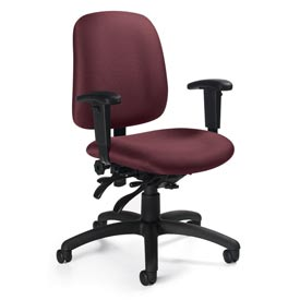 Global™ Goal - Low Back Pneumatic Multi - Tilter w/Arms - Rhapsody Fabric Upholstery
