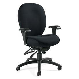 Global™ Multi-Tilter Office Chair with Arms - Fabric - High Back - Black  - Mallorca Series