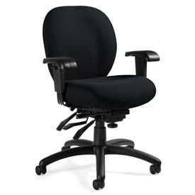 Global™ Multi-Tilter Office Chair with Arms - Fabric - Mid Back - Black  - Mallorca Series