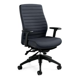 Global™ Office Chair with Ribbed Back - Fabric - High Back - Gray - Aspen Series