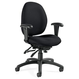Global™ Malaga - Low Back Multi - Tilter With Arms - Black Fabric Upholstery