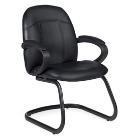 Global™ Guest Chair with Arms - Leather - Black - Tamiri Series