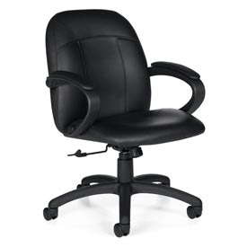 Global™ Tilter Office Chair with Arms - Leather - Low Back - Black - Tamiri Series