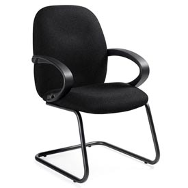 Global™ Enterprise - Armchair With Fixed Loop Arms - Black Fabric Upholstery
