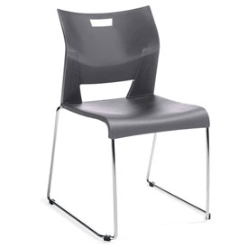 Global™ Armless Molded Stacking Chair with Sled Base - Plastic - Platinum - Duet Series