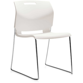 Global™ Armless Stacking Chair - Plastic - Ivory Clouds - Popcorn Series