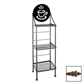 """Click here to buy Art Silhouette Bakers Rack 15""""W Coffee Cup (Aged Iron)."""