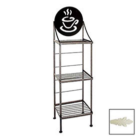 "Click here to buy Art Silhouette Bakers Rack 15""W Coffee Cup (Ivory)."