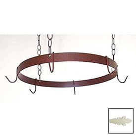 Hanging Pot Rack, Round With 6 Hooks & 3 Chains (Ivory) by
