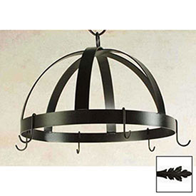 Hanging Pot Rack, Domed With 8 Hooks (Satin Black) by