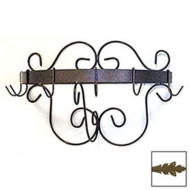 """Wall Mount Pot Rack With Curls & 6 Hooks 20"""" (Antique Bronze) by"""