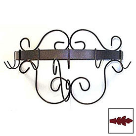 """Wall Mount Pot Rack With Curls & 6 Hooks 20"""" (Deep Red) by"""