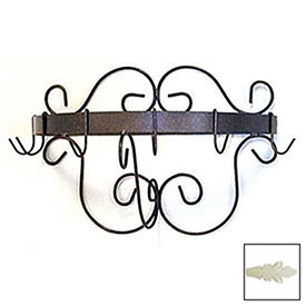 """Wall Mount Pot Rack With Curls & 6 Hooks 20"""" (Ivory) by"""