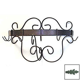 """Wall Mount Pot Rack With Curls & 6 Hooks 20"""" (Jade Teal) by"""