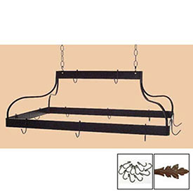 Hanging Pot Rack, Mediterranean With 12 Hooks & Chain (Aged Iron) by