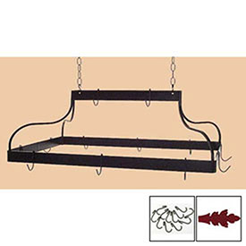 Hanging Pot Rack, Mediterranean With 12 Hooks & Chain (Deep Red) by