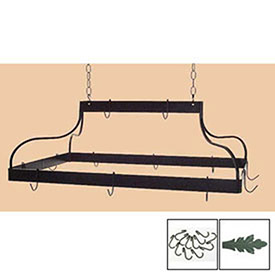 Hanging Pot Rack, Mediterranean With 12 Hooks & Chain (Jade Teal) by