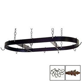 "Hanging Pot Rack, Oval With 12 Hooks & Chain 36"" (Aged Iron) by"