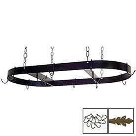 "Hanging Pot Rack, Oval With 12 Hooks & Chain 36"" (Antique Bronze) by"