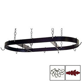 "Hanging Pot Rack, Oval With 12 Hooks & Chain 36"" (Deep Red) by"